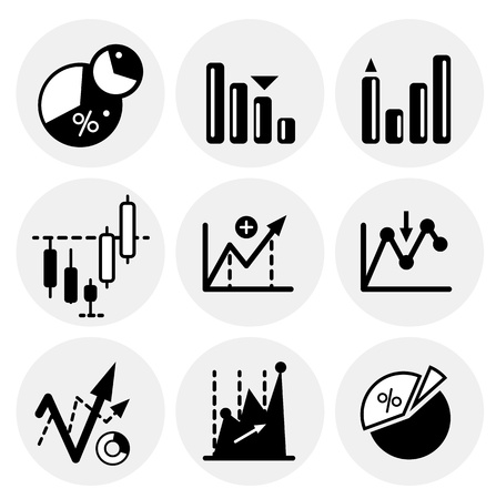 black statistics icons Vector