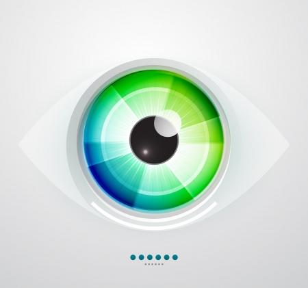 ojos verdes: Resumen ojo ilustración vectorial tecno Vectores