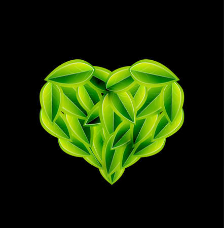 heart shaped leaves: Eco love heart made of leaves  Vector environmental concept