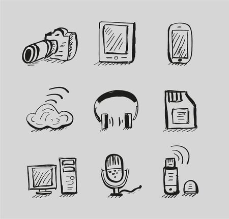 Hand drawn mobile devices vector black icon set Vector