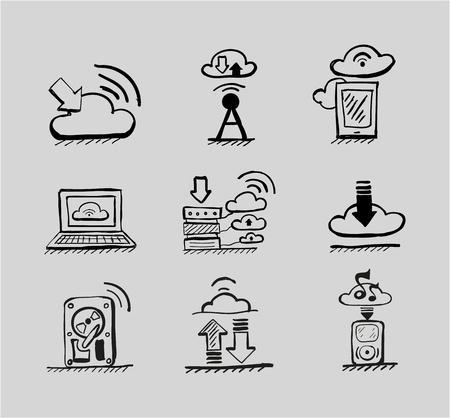 Hand drawn cloud concepts vector black icon set Illustration