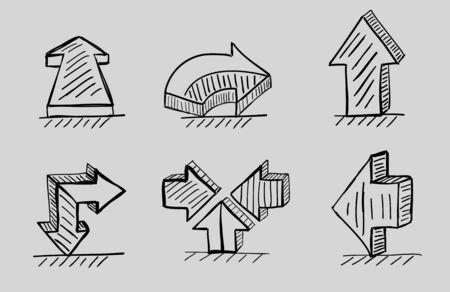 Hand drawn 3d arrows vector black icon set Vector