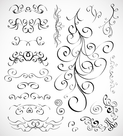 Vector set of calligraphic design elements Vector