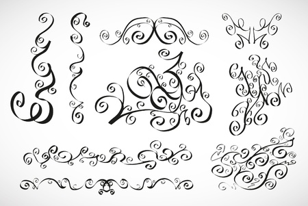 Vector calligraphic design elements  smooth floral lines Stock Vector - 16426027