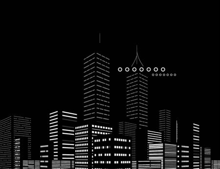 Night modern city abstract background Illustration