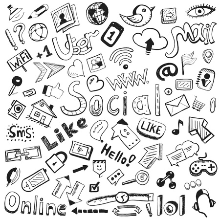 hand drawn icons  big set of modern social doodles Stock Photo - 16656549