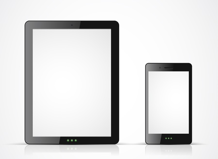 black tablet pc and mobile phone on white background Vector