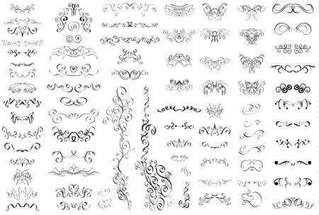 Conjunto de elementos caligráficos del vintage retro Ilustración de vector