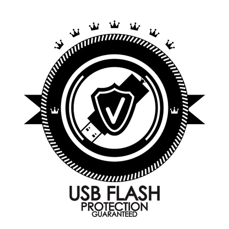 Black retro vintage label   tag   badge   usb flash protection Vector