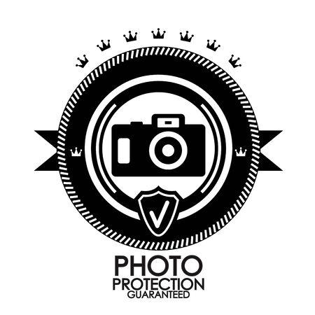 Black retro vintage label   tag   badge   photo protection Vector