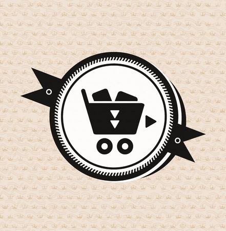 Vintage retro label   tag   badge   shopping cart icon Stock Vector - 17259281