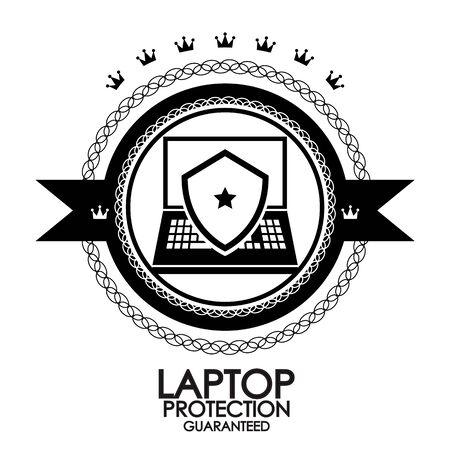 Black retro vintage label   tag   badge   laptop protection stamp Stock Vector - 17259289