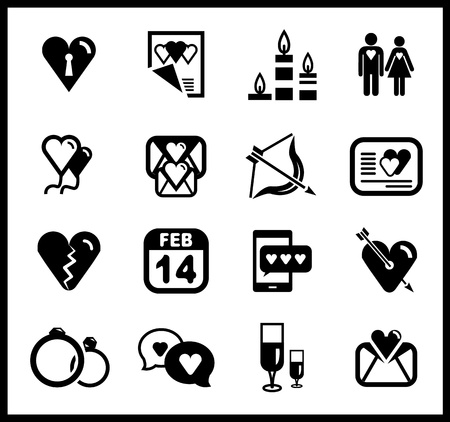 set of valentine s day and love icons Vector