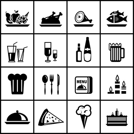 restaurant food black icon set Vector