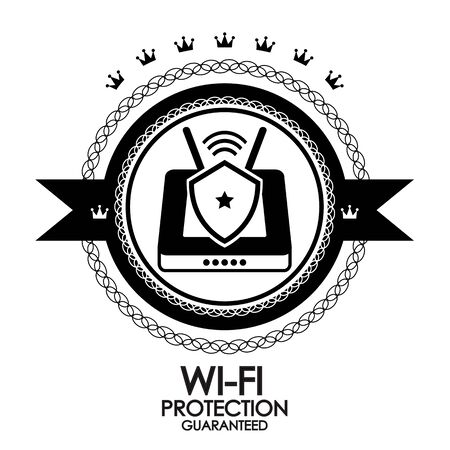 Black retro vintage label wi-fi protection Stock Photo - 17652332