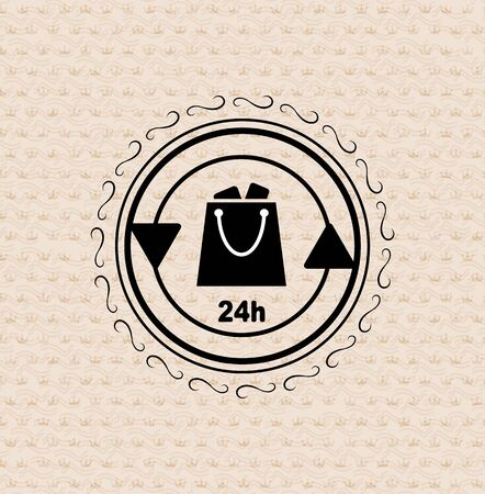 Vector vintage retro badge shopping bag Vector
