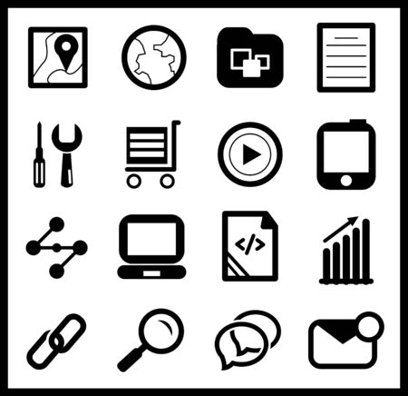 Black web icon set Stock Vector - 17776305