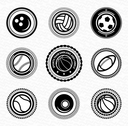 team sport: Sports team vitage retro badges and labels Illustration
