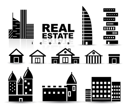 small business: Black real estate   houses   buildings icon set Illustration