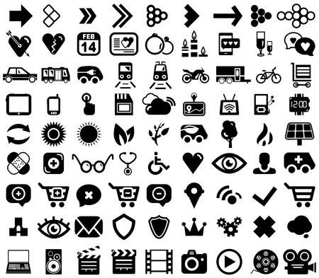 Big set of black universal web icons Stock Vector - 17776356