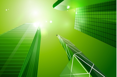Green eco business city background photo