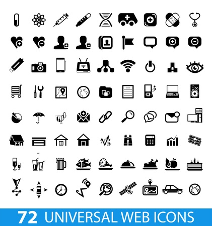 wireless icon: Set of 72 universal web icons