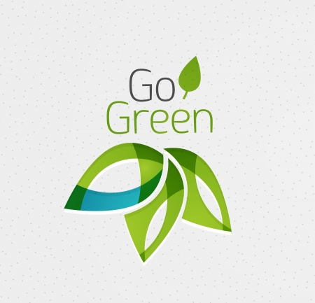 eco energy: Green leaf icon concept Illustration