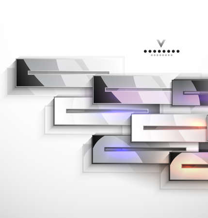 3d geometrical design  metal stripes Vector