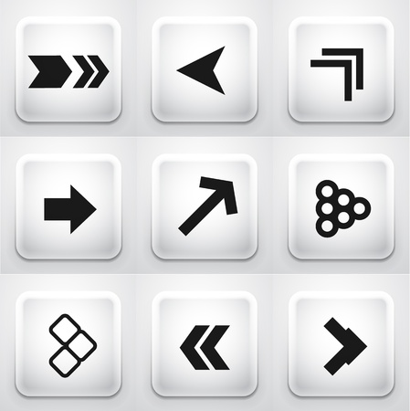 Set of square application buttons  arrows Stock Vector - 18217202