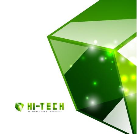 Modern 3d glass cube design template Vector