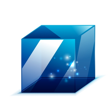 3d glass cube isolated on white Vector
