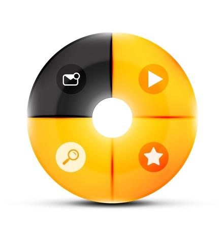 Round glass menu buttons design template Stock Vector - 18511490