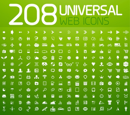 Set of 208 vector universal icons Stock Vector - 18592177