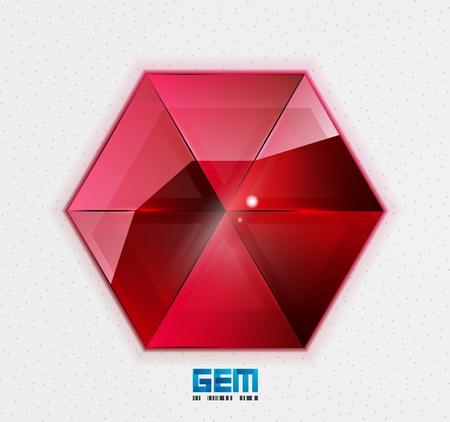 Red gem design template Vector