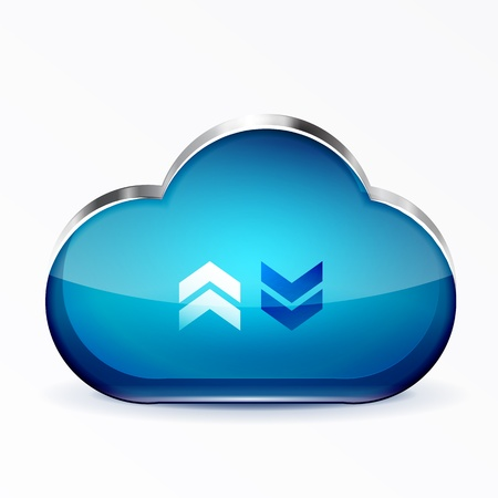 blue modern 3d glass cloud icon Vector