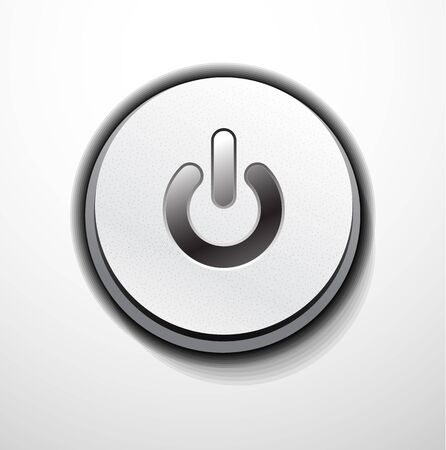 Metallic power button design Vector