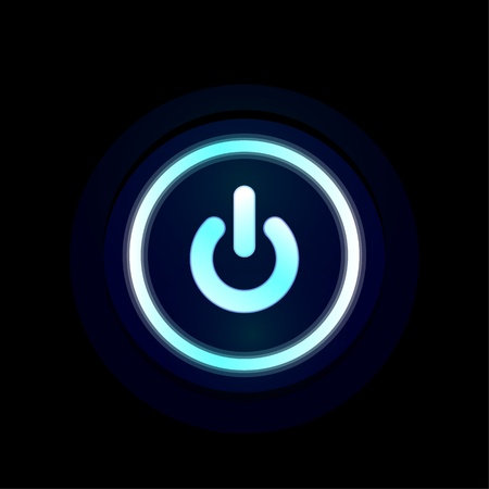 Vector blue LED power button design photo