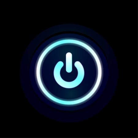 Vector blue LED power button design Stock Photo - 18728606