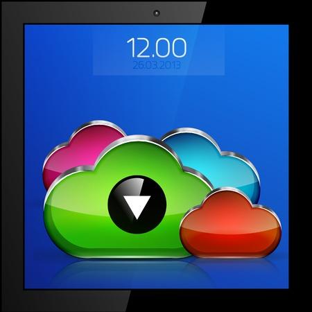 Mobile cloud connection application concept Stock Vector - 18728628