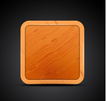 Mobile app icon - wood textured square blank design Vector