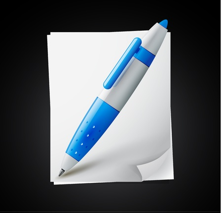 icon - paper pages with blue pen Vector