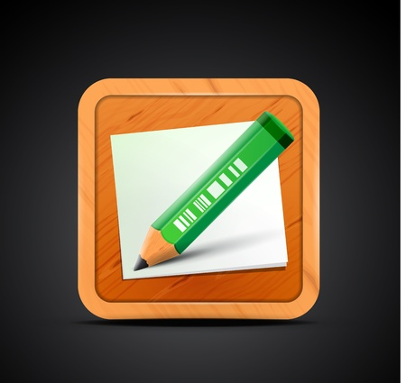 Mobile app icon - pencil, wood board, paper sheets Vector