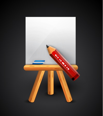 Pencil drawing conceptual icon Vector
