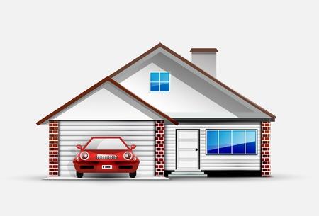 Casa y coche rojo deportivo cercano garaje