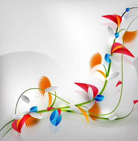 Abstract colorful floral design on gray background Vector