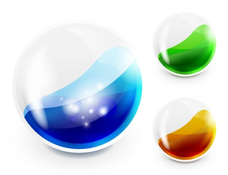 Glass sphere with color liquid Vector