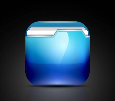Glossy folder icon Stock Vector - 19008593