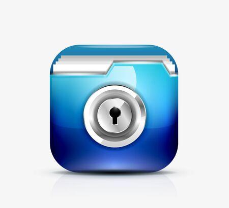 Locked folder icon   folder protection concept Illustration