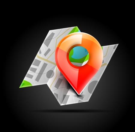 satellite navigation: Mapa icono de navegaci�n Vectores