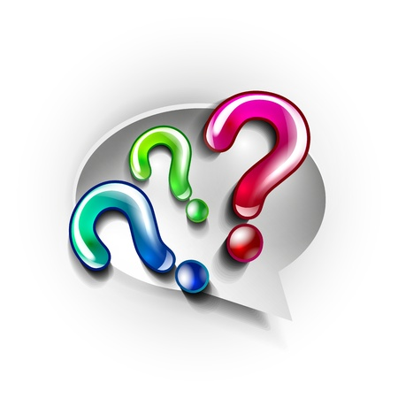 questionary: Paper speech bubble and question marks Illustration